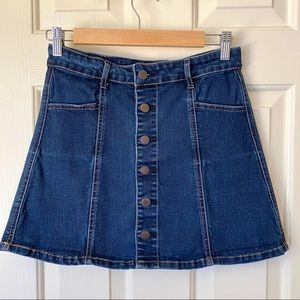 American Rag Denim Button Up Mini Skirt Flare